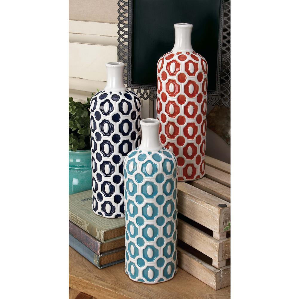 13 in. Geometric Floret Multi Colors Ceramic Decorative Vase (Set of 3)