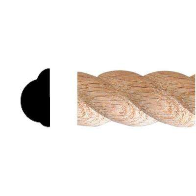 1/2 in. x 1 in. x 8 ft. Oak Carved Rope Moulding