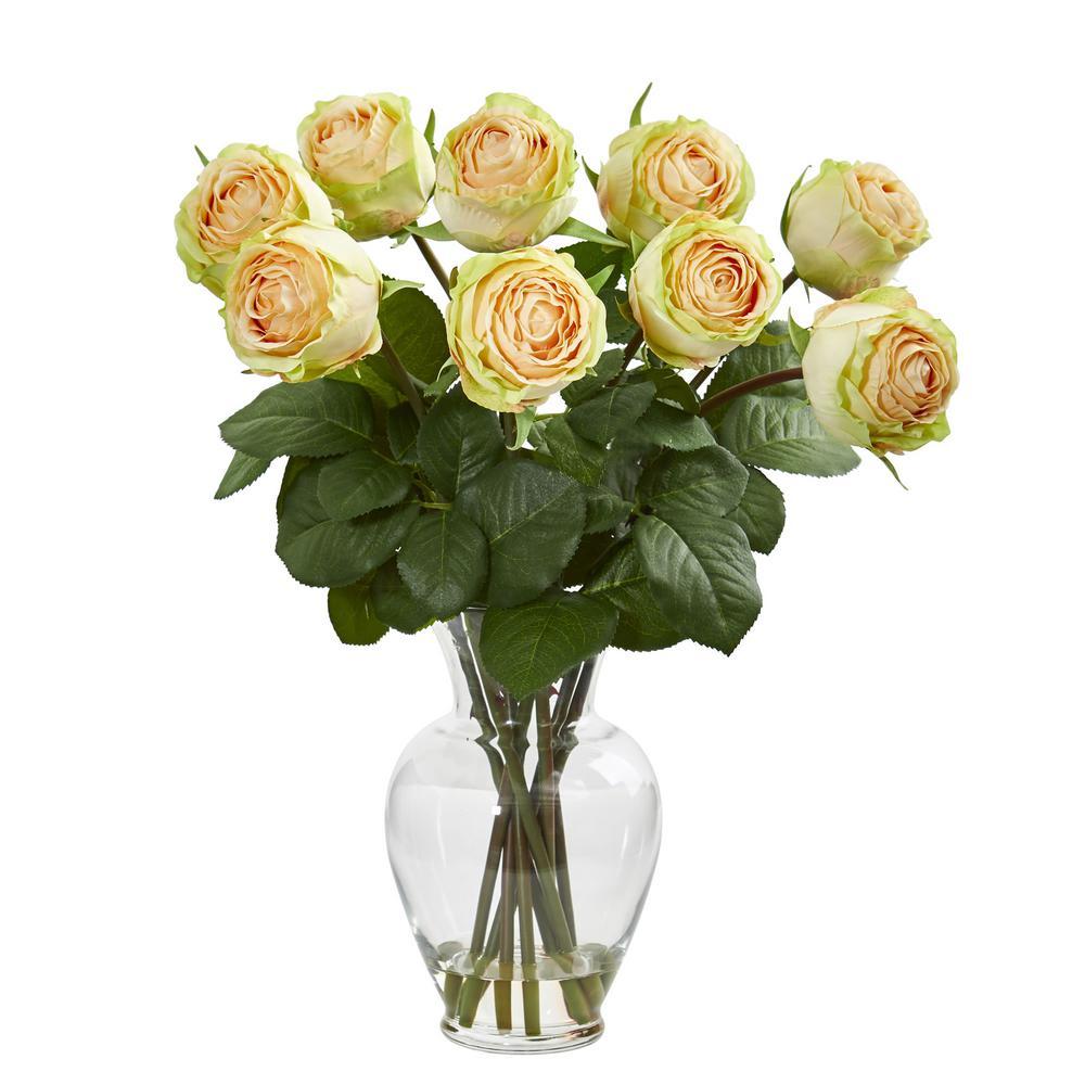 Nearly Natural Indoor 19 in. Rose Artificial Arrangement in Glass Vase