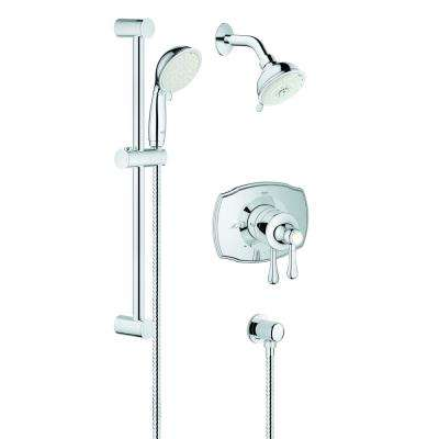 GrohFlex Authentic Lever 1-Handle Wall Mount Trim Kit in Chrome Valve and Handles Not Included