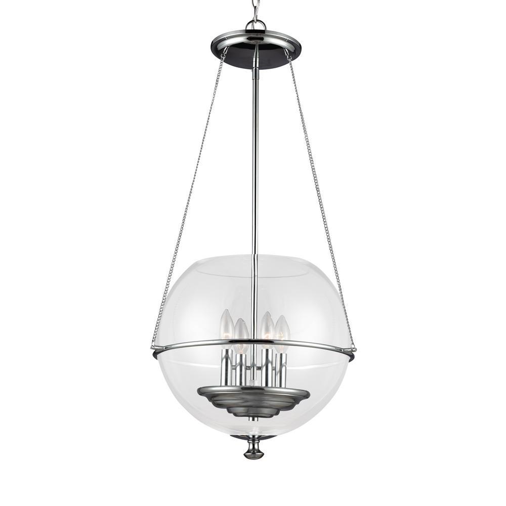 Led chrome rustic lighting the home depot havenwood 4 light chrome pendant aloadofball Images