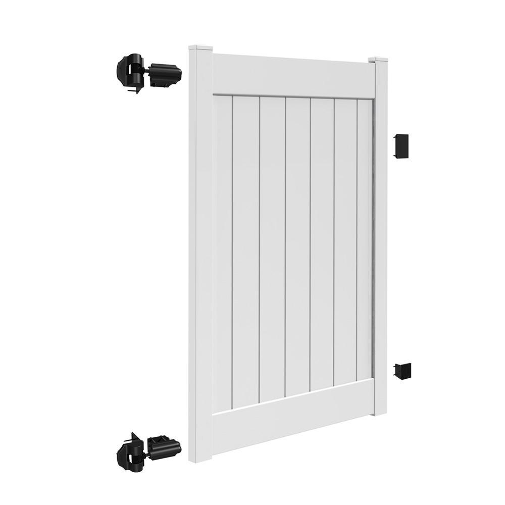 Acadia 4 ft. x 6 ft. White Vinyl Privacy Fence Gate