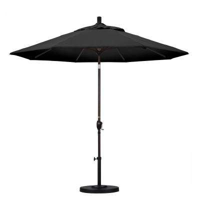 9 ft. Aluminum Push Tilt Patio Umbrella in Black Olefin