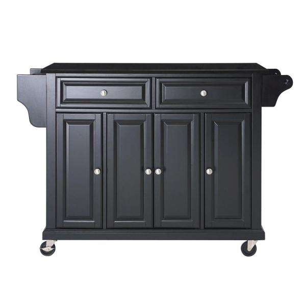 Full Size Black Kitchen Cart with Black Granite Top