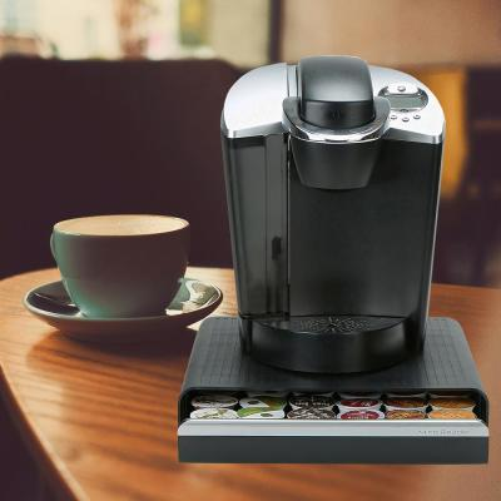 Black 36-Capacity K-Cup Single Serve Coffee Pod Storage Drawer Organizer (2-Pack)