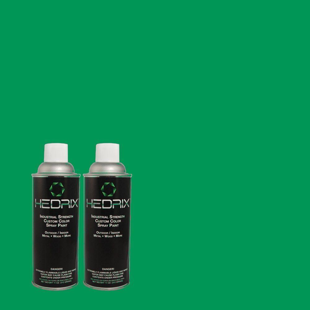 Hedrix 11 oz. Match of 470B-6 Emerald Lake Gloss Custom Spray Paint (2-Pack)
