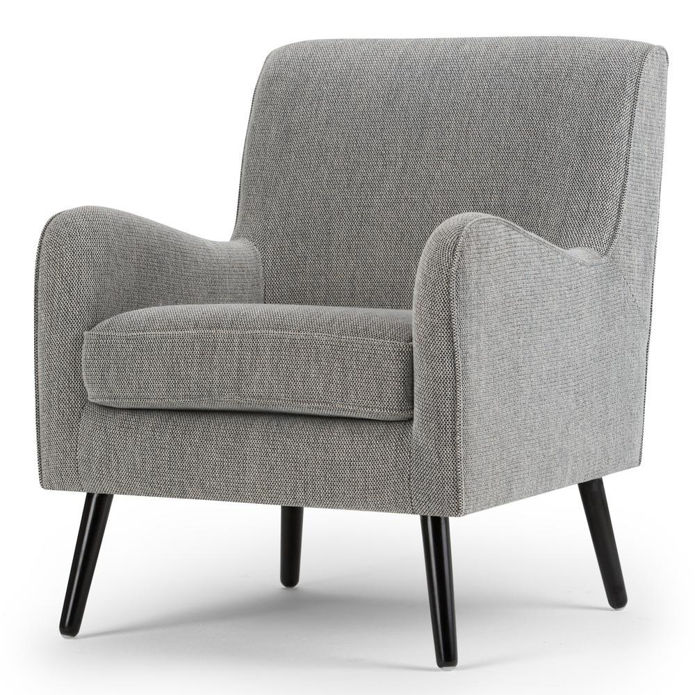 Dysart 28 in. Wide Mid Century Modern Arm Chair in Grey Tweed Fabric