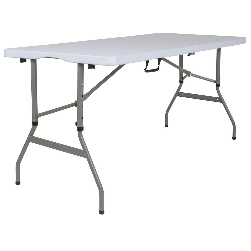 60 in. Granite White Plastic Tabletop Metal Frame Folding Table