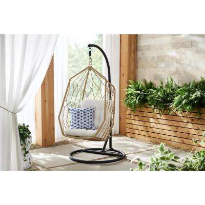 Tan Wicker Diamond Shaped Outdoor Patio Egg Lounge Chair Swing with Chalk White Cushions