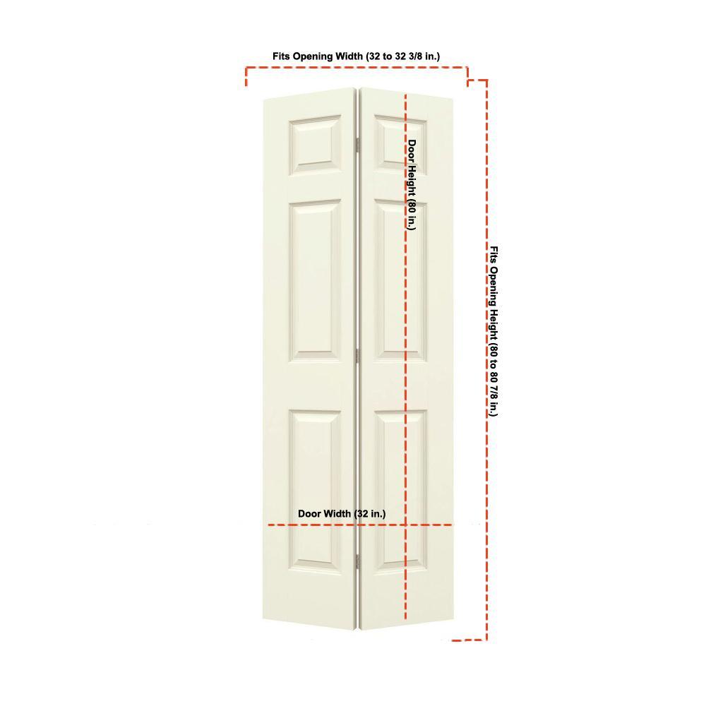 32 in. x 80 in. Colonist Vanilla Painted Smooth Molded Composite MDF Closet Bi-fold Door