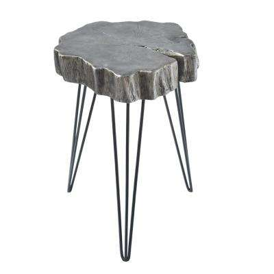 Gray Crosscut Tree Accent Table