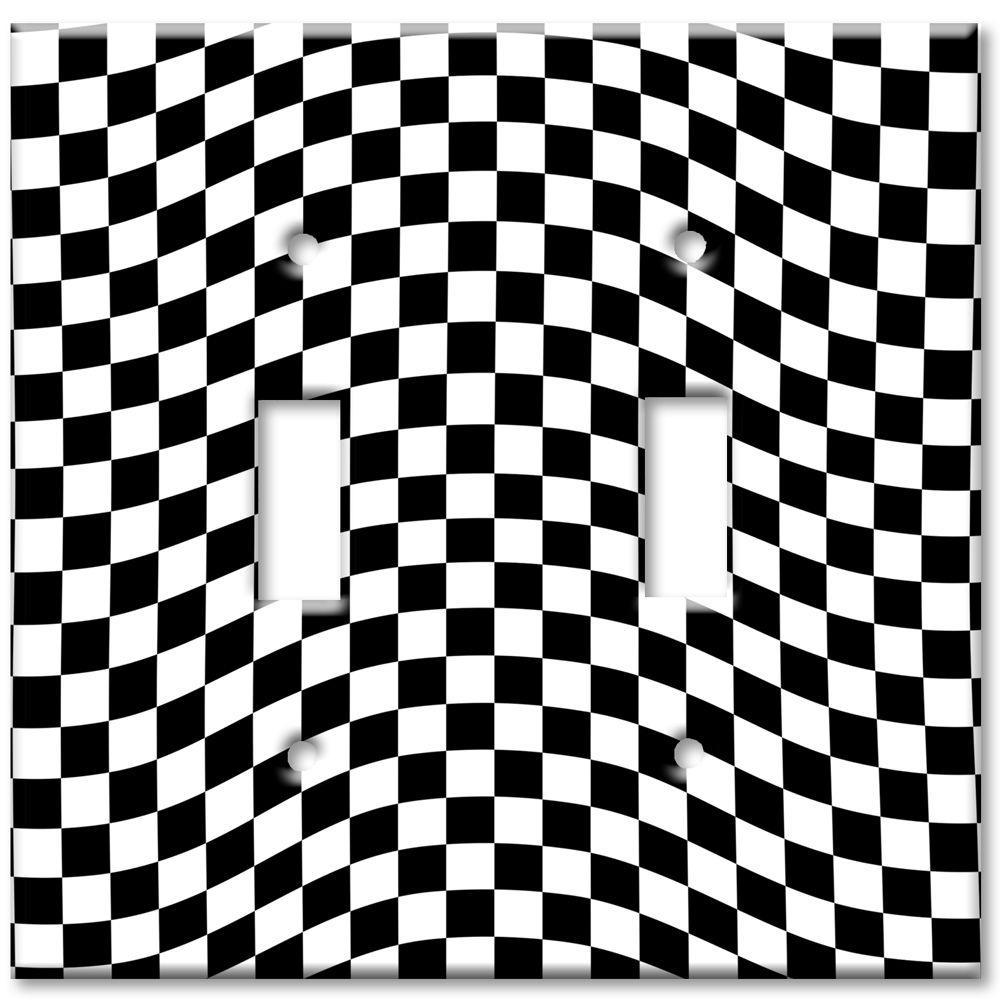 Art Plates Checkered Racing Flag Oversize 2 Wall Plate