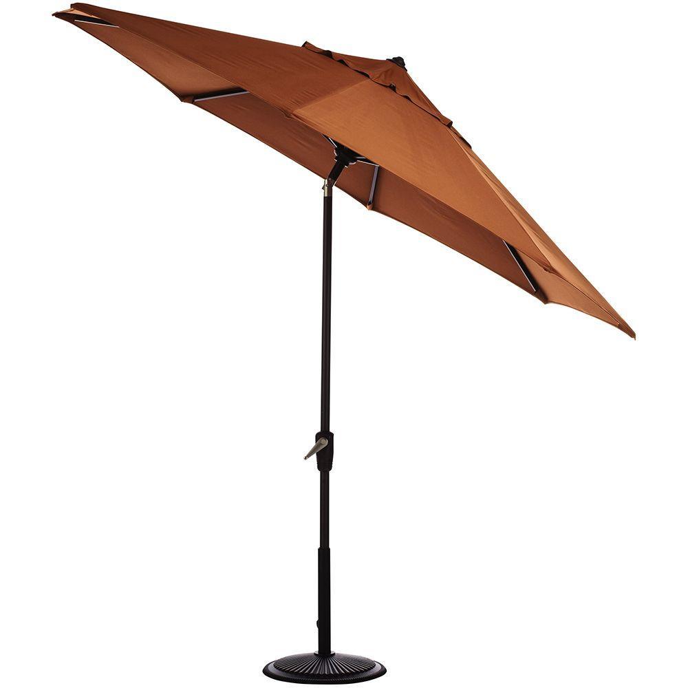 11 ft. Auto-Tilt Patio Umbrella in Rust Sunbrella with Black Frame