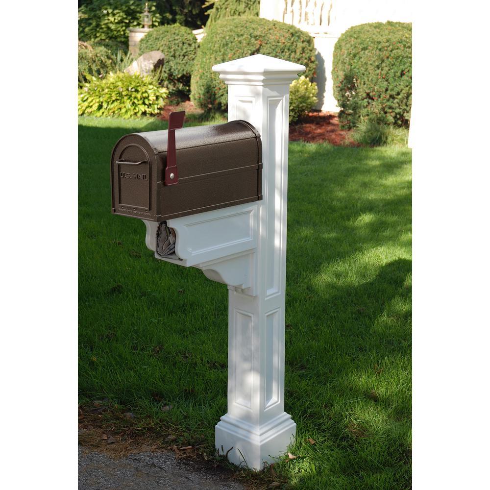 Charleston Plus Mailbox Post, White