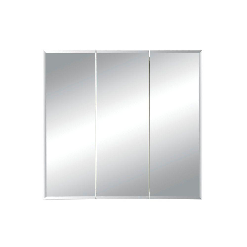 Horizon 30 in. W x 28-1/4 in. H x 5 in. D Frameless Tri-View Recessed Bathroom Medicine Cabinet in White