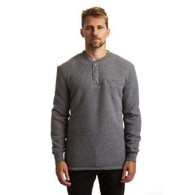 Men's Small Charcoal Heather Sherpa Lined Henley Thermal Shirt
