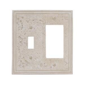 texture stone 1 toggle and 1 decora wall plate almond