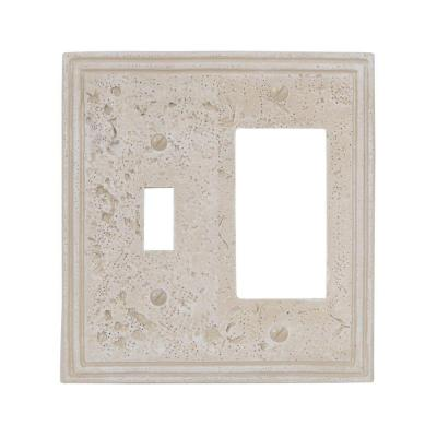 Faux Stone 2 Gang 1-Toggle and 1-Rocker Resin Wall Plate - Almond