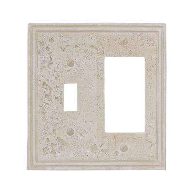 Texture Stone 1 Toggle and 1 Decora Wall Plate - Almond