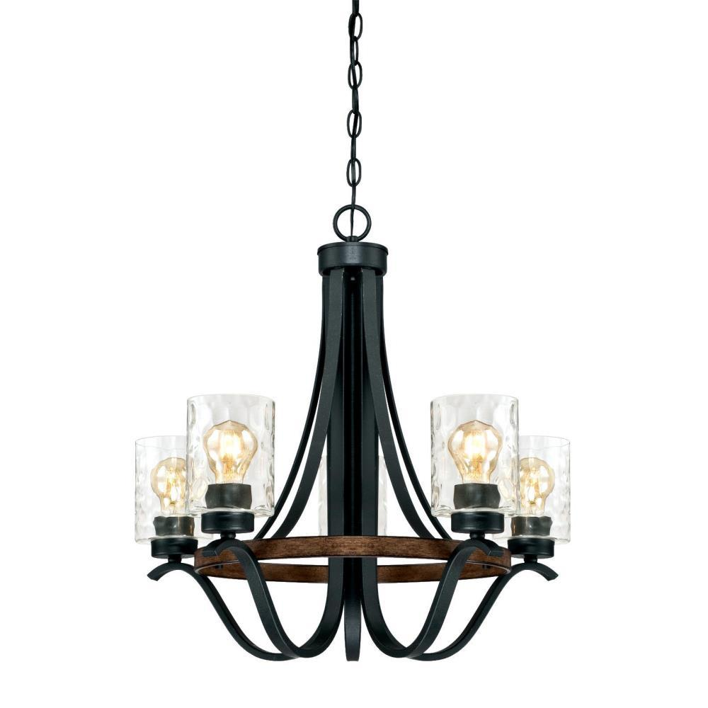 Westinghouse Barnwell 5-Light Textured Iron and Barnwood Chandelier with Clear Hammered Glass Shades