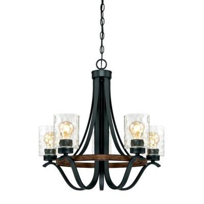 Barnwell 5-Light Textured Iron and Barnwood Chandelier with Clear Hammered Glass Shades