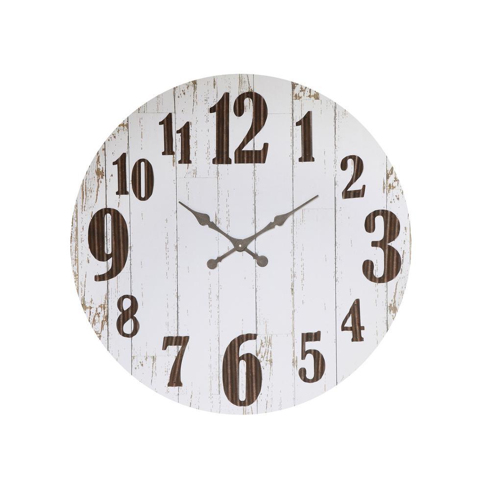 Distressed White Wood Slat Wall Clock