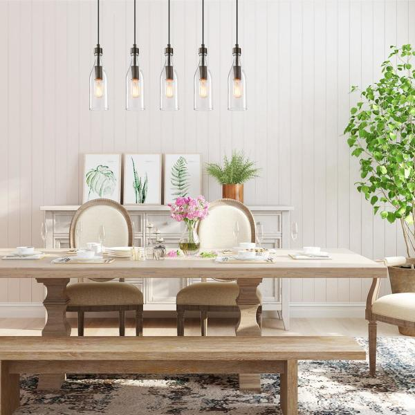 Lnc Esch 5 Light Bronze Modern Chandelier Farmhouse Dining Room Wood Pendant Lighting With Clear Glass Shade A02982 The Home Depot,Recipes With Raspberries And Lemon
