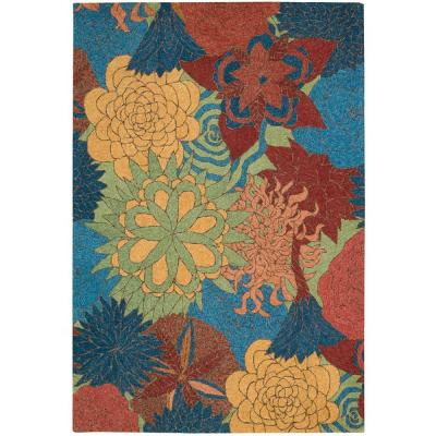 South Beach Deep Sea 5 ft. x 8 ft. Floral Modern Indoor/Outdoor Area Rug