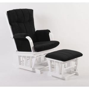 Fabulous Home Deluxe Black Microfiber And White Wood Glider And Ottoman Set Machost Co Dining Chair Design Ideas Machostcouk
