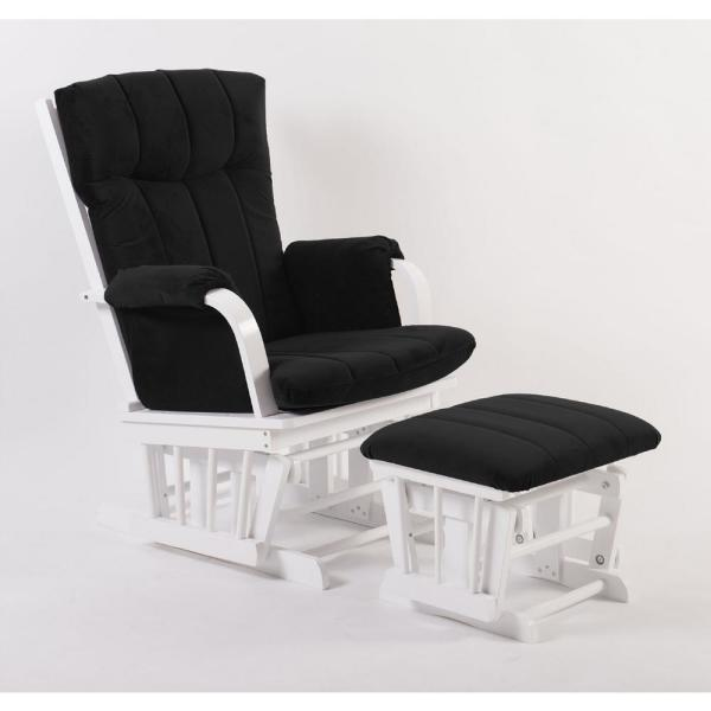 ARTIVA Home Deluxe Black Microfiber and White Wood Glider and Ottoman