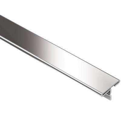 Reno-T Stainless Steel 17/32 in. x 8 ft. 2-1/2 in. Metal T-Shaped Tile Edging Trim