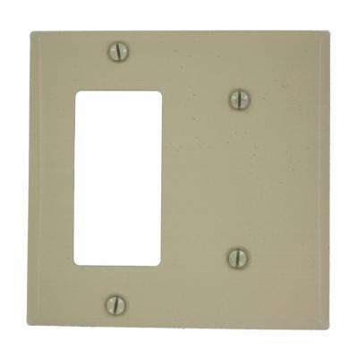 2-Gang 1 No Device Blank 1-Decora Standard Size Combination Painted Metal Wall Plate, Ivory