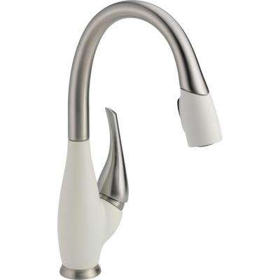 Fuse Single-Handle Pull-Down Sprayer Kitchen Faucet with MagnaTite Docking in Stainless/Snowflake White