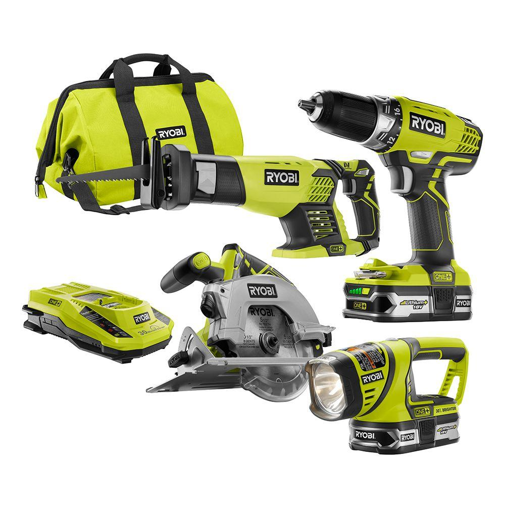 ryobi one 18 volt lithium ion cordless combo kit 4 tool p1877 the home depot. Black Bedroom Furniture Sets. Home Design Ideas