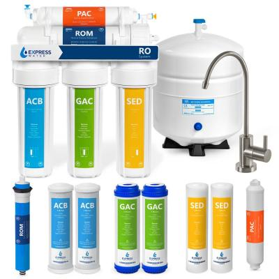 Express Water Reverse Osmosis 5 Stage Water Filtration System – with Faucet, Tank, and 4 Replacement Filters – 100 GPD