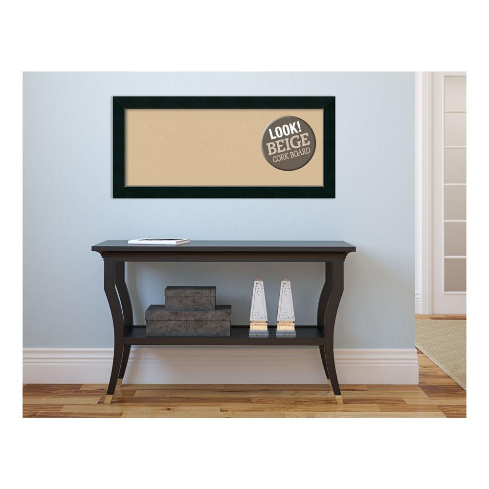 Corvino Black Wood 33 in. x 15 in. Framed Beige Cork Board