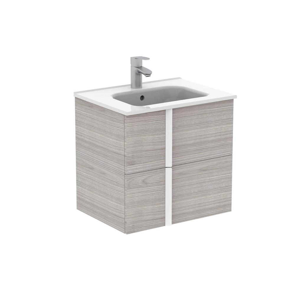 ROYO Onix 24 in. W x 18 in. D Bath Vanity in Sandy Grey with Vanity Top in White with White Basin
