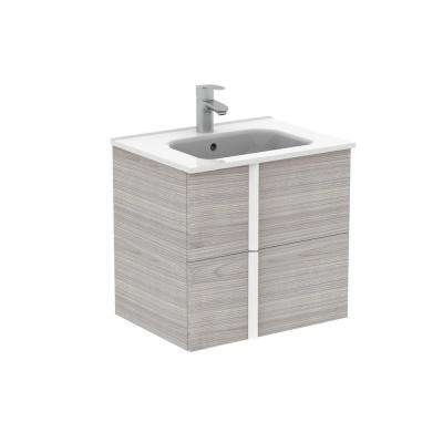 Onix 24 in. W x 18 in. D Bath Vanity in Sandy Grey with Vanity Top in White with White Basin