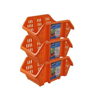 Stackable Storage Bin in Orange (3-Pack)