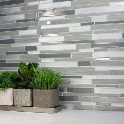 Milano Grigio Approximately 3 in. W x 3 in. H Gray Decorative Mosaic Wall Tile Backsplash Sample