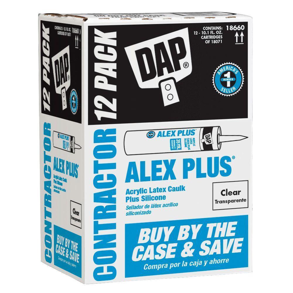 10.1 oz. Alex Plus Clear Acrylic Latex Caulk Plus Silicone(12-Pack)