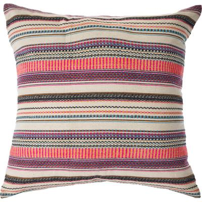 Embroidered Multi-color Striped Decorative Polyester Fill 20 in. x 20 in. Decorative Throw Pillow