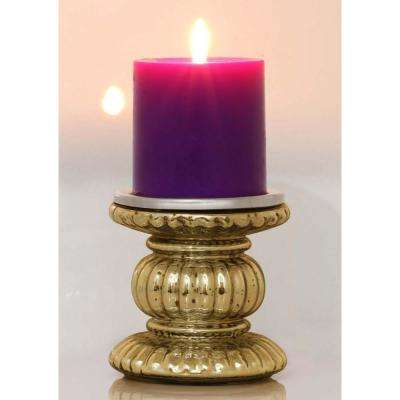 Handmade Gold Glass Pillar Candle Holder with Ribbed Design