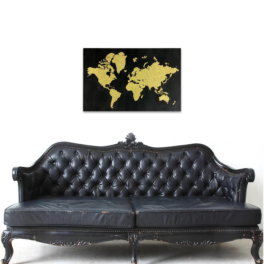 "30 in. x 20 in. ""World in Glitter"" By Wynwood Studio Framed Printed Canvas Wall Art"