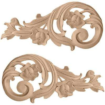 1 in. x 11-1/2 in. x 5-1/2 in. Unfinished Wood Alder Large Rose Scrolls
