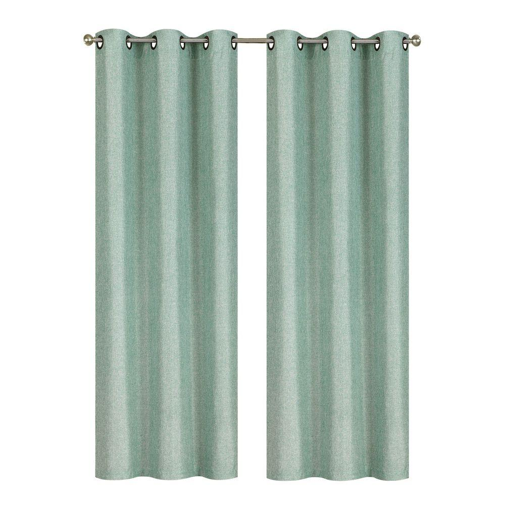 Semi-Opaque Willow Textured Woven 96 in. L Grommet Curtain Panel Pair, Harbor (Set of 2)