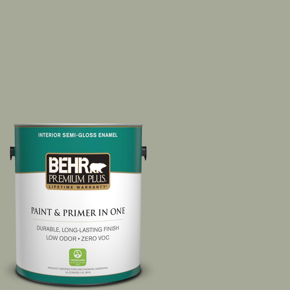 1 gal. #PPU10-16 Simply Sage Zero VOC Semi-Gloss Enamel Interior Paint