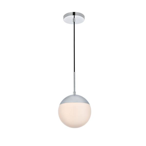 Timeless Home Ellie 1-Light Chrome Pendant with Frosted Glass Shade