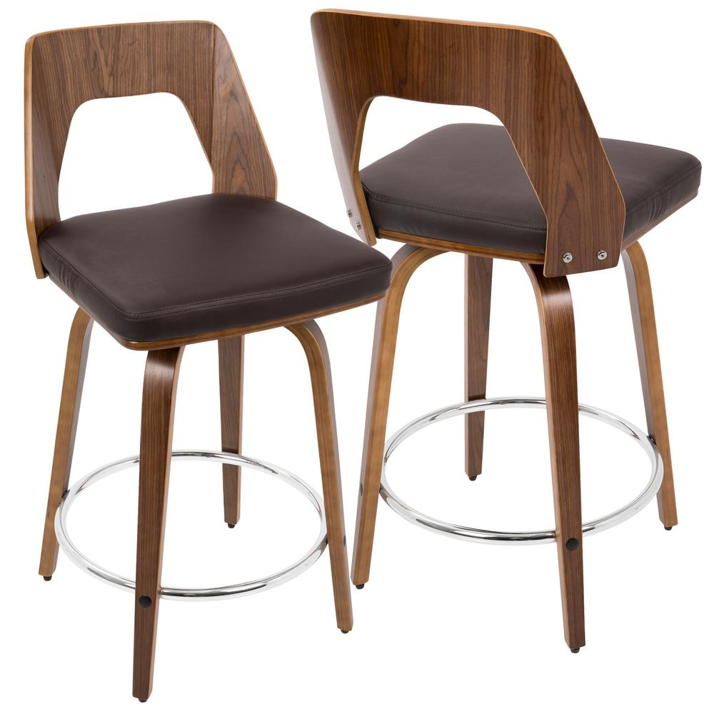 Trilogy Walnut and Brown Mid-Century Modern Counter Stool