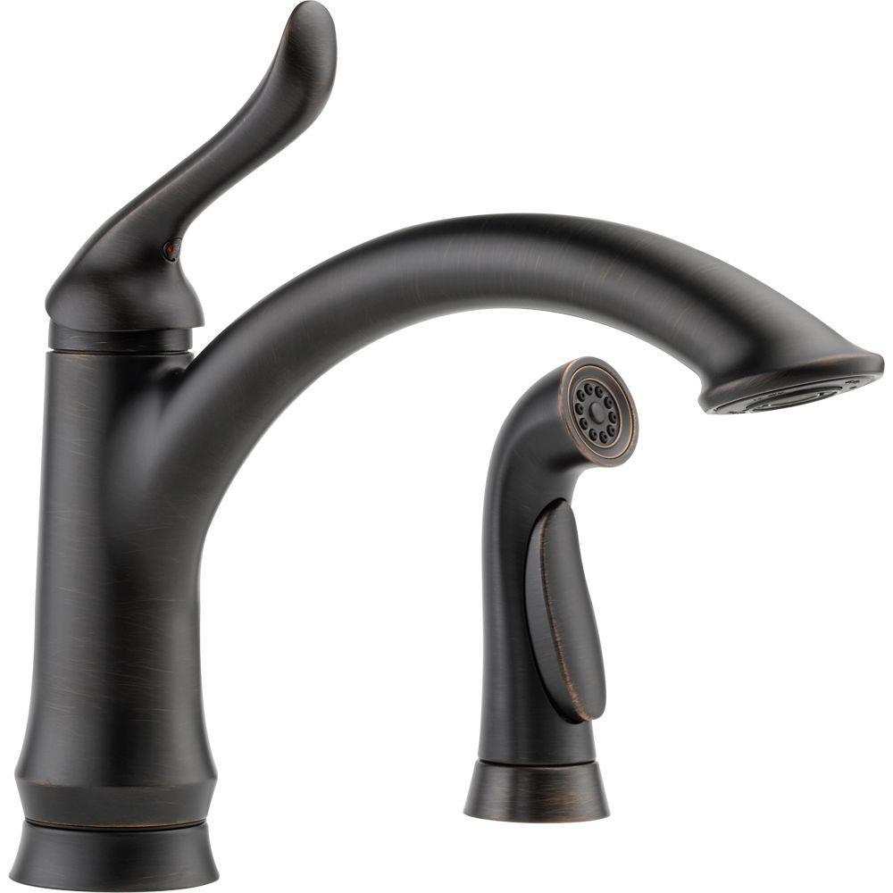 Delta Linden Single-Handle Standard Kitchen Faucet with Side Sprayer in  Venetian Bronze